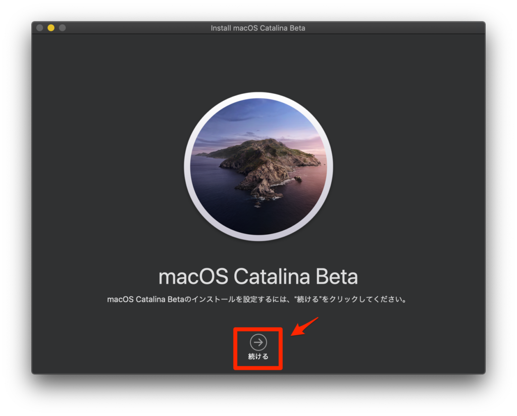 Install macOS Catalina Beta Click Next