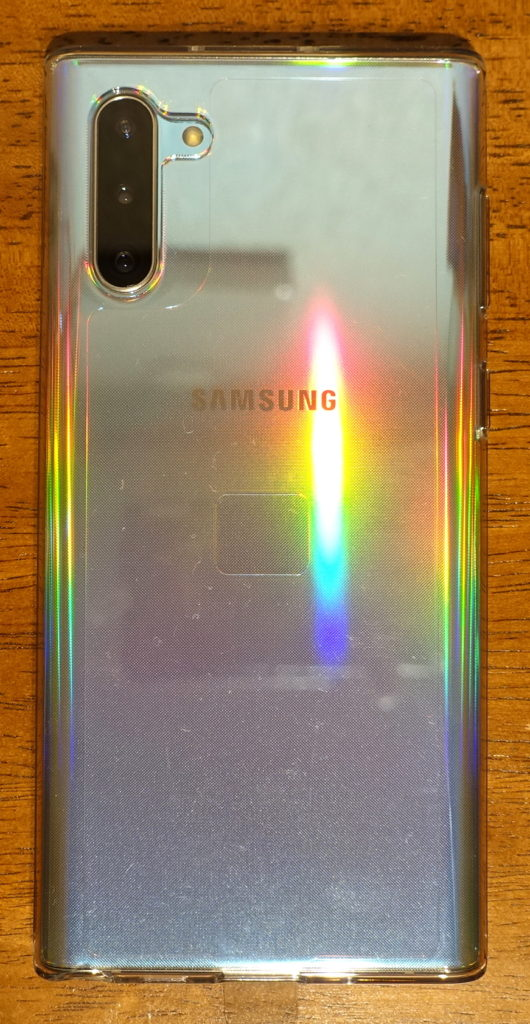 Galaxy Note10付属TPUケースに本体をセットした背面画像